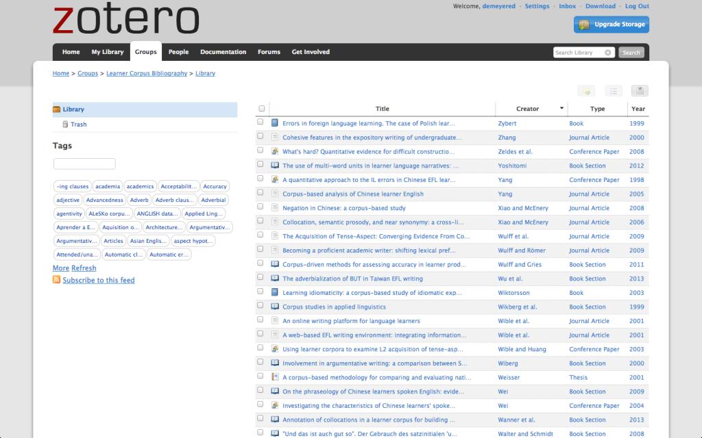 Zotero earner Corpus Bibliography